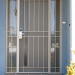 Screen Door Design With Vertical Metal Railing In White Two Sidelights With Rails