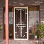 screen door with decorative panel and wider sidelights with wood trims