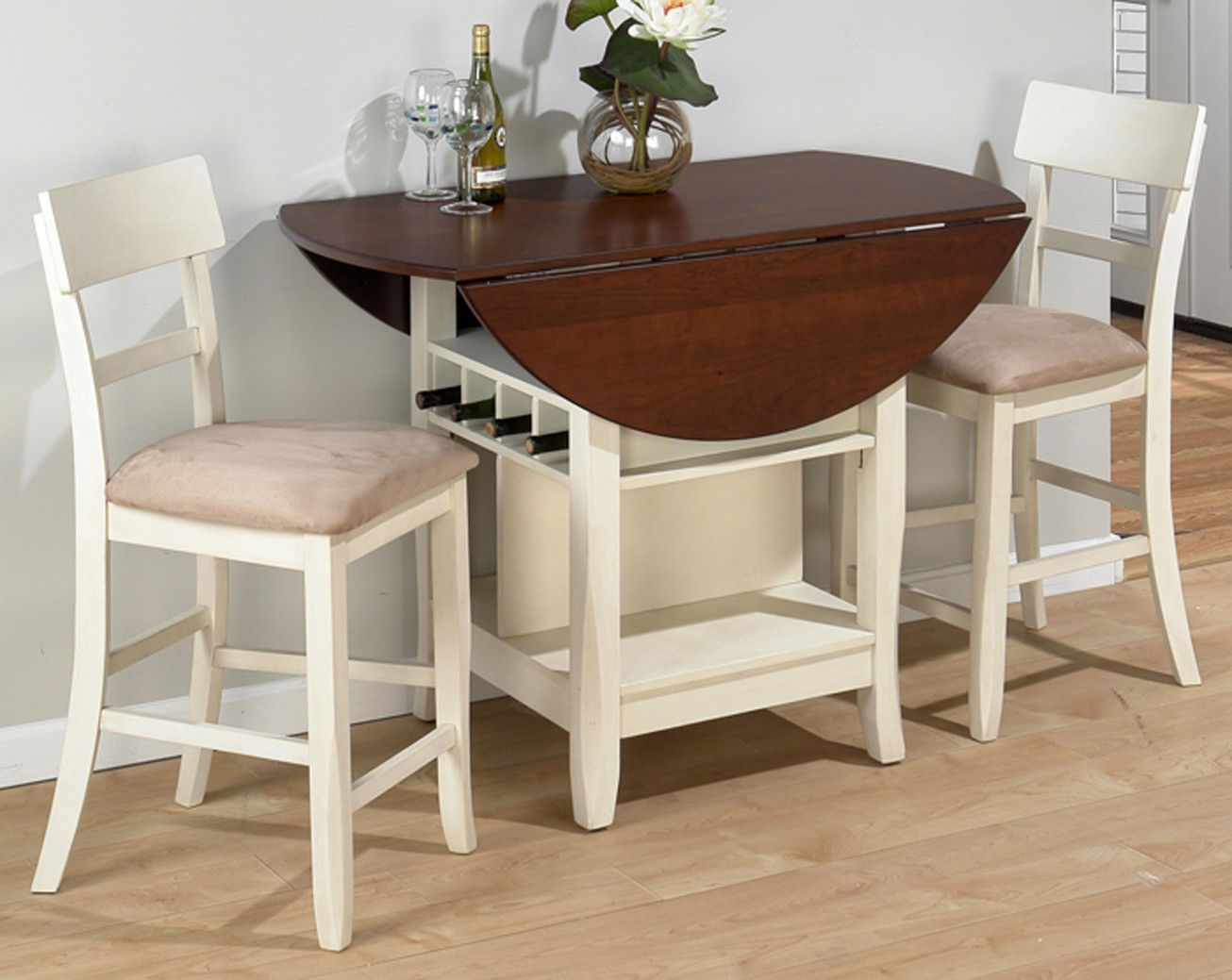Shabby Chic Drop Leaf Dining Table For Small Spaces In Wooden With White Comfy Chairs Beautified