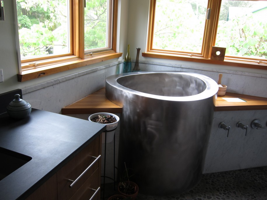 Silver Deep Tubs For Small Bathrooms In Japanese Style And Glass Windows  And Natural Floor And