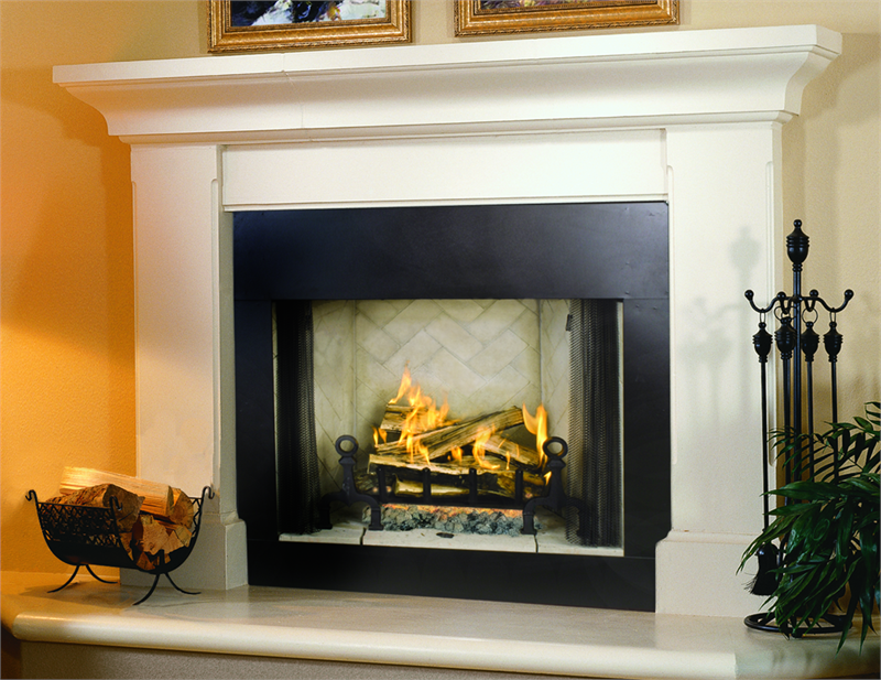 simple and modern fireplace mantel height with golden framed pictures