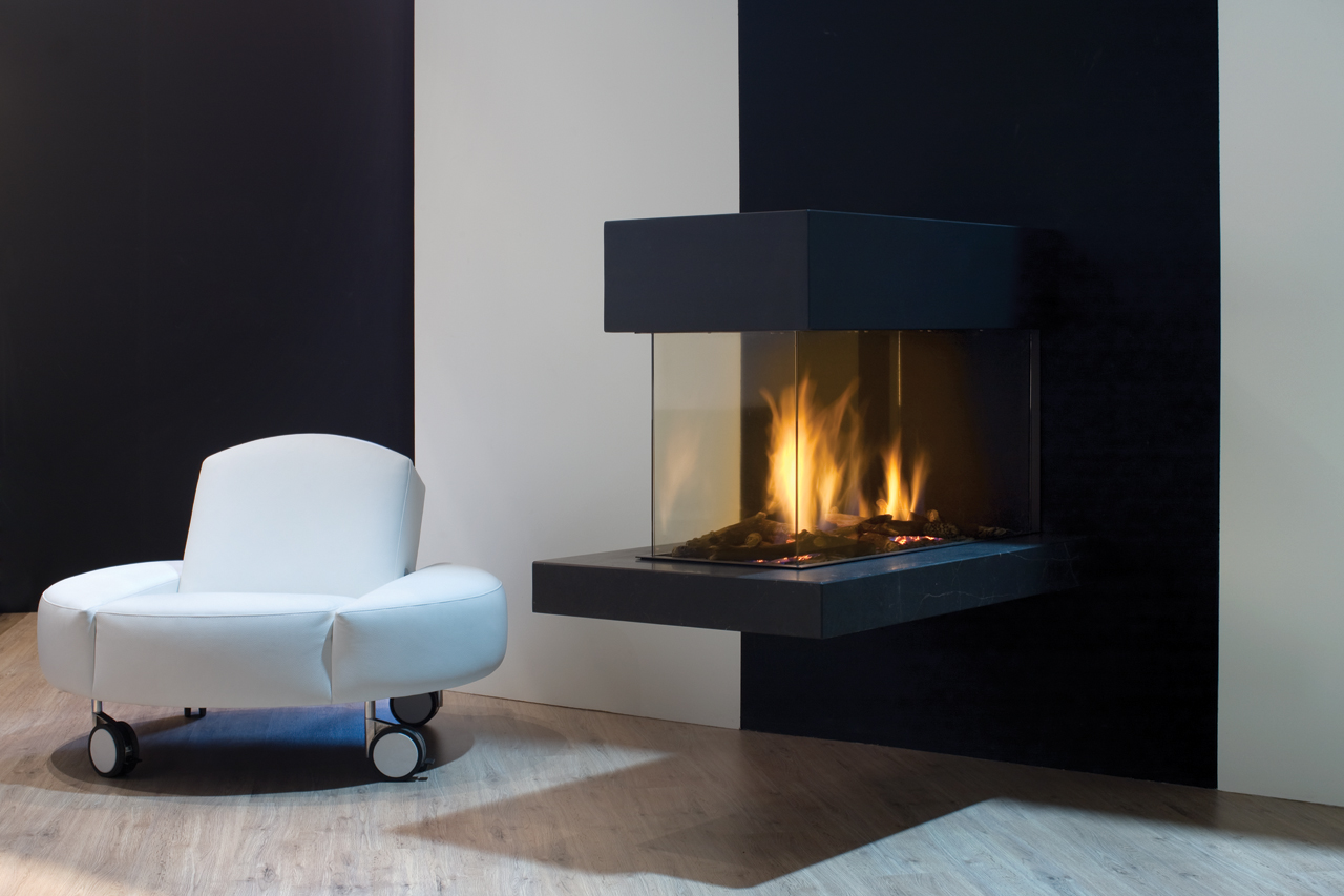 Simple Black Floating 3 Sided Fireplace Design With Glass Hearth Aside Mdern White Round Chaise Upon