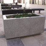 Simple Rectangle Shaped Concrete Planter Boxes Design Upon Modern Patio Design Aside Black Wooden Bench