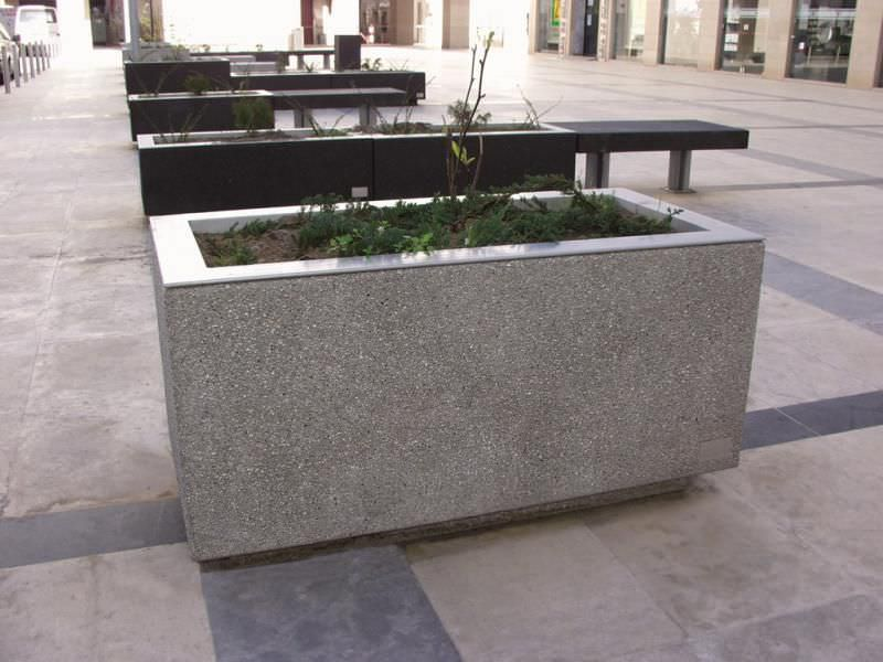 Delightful Simple Rectangle Shaped Concrete Planter Boxes Design Upon Modern Patio  Aside Black Wooden Bench Concrete Planter Boxes Touch Your Outdoor Space  With ...