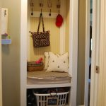 Simple Tiny Cool Practical Mudroom Design With Single Square Concept And Has A Little Hooks With A Laundry Storage