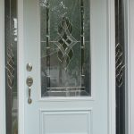 simple wood screen door with crafted sidelights and crafted glass screen