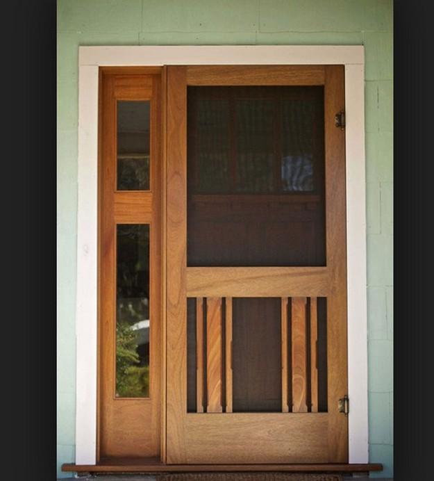 Sliding Wood Screen Door With Black Tone Glass Screen