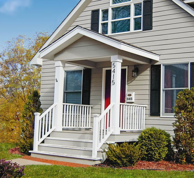 small front porch without furniture wood rails for porch in white tone color - Get Small Home Design Front Look  Pictures