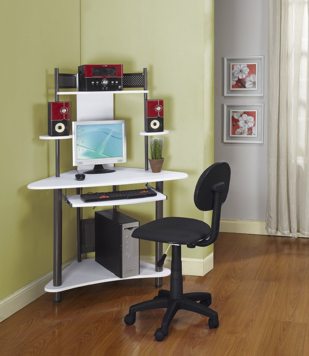 Small Home Office With Corner Computer Desk Ikea For Small Spaces With  Monitor And Sliding Panel