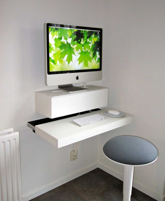 Small Ikea Wall Desks For Small Spaces With Round Chairs And Monitor For  Home Office