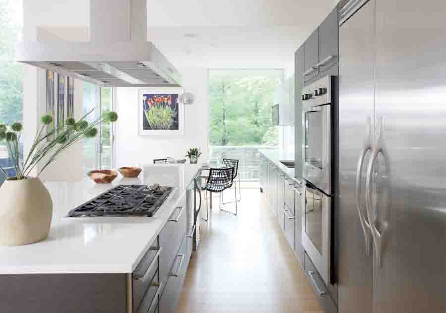 small kitchen remodeling northern va with gray kitchen cabinets and white glossy countertop plus gas stove - Kitchen Cabinets Northern Virginia