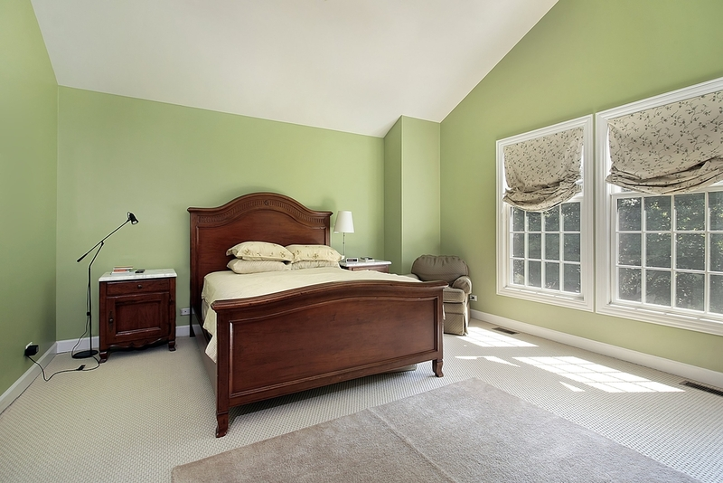 Soft Green Wall Color Paint For Bedroom Darker Stained Wood Bed Furniture  Wood Bedside Table A