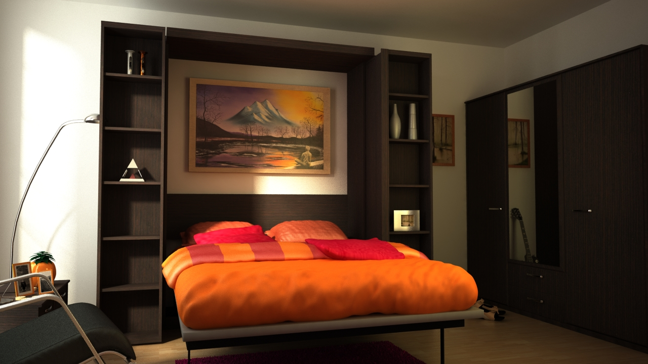 Fold up wall bed a brand new style to have comfortable bedroom sophisticated simple orange bed sheet design with pink pillows of fold up wall bed design with amipublicfo Images