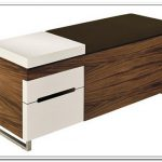sophisticated white brown wooden ottoman design with file storage in the shape of bench with metal leg and white accent drawer