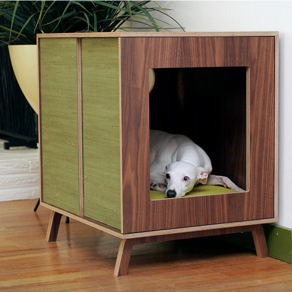 Stunning Fancy Dog Crates In Green And Brown Wooden Design With Square Hole  With Legs Upon
