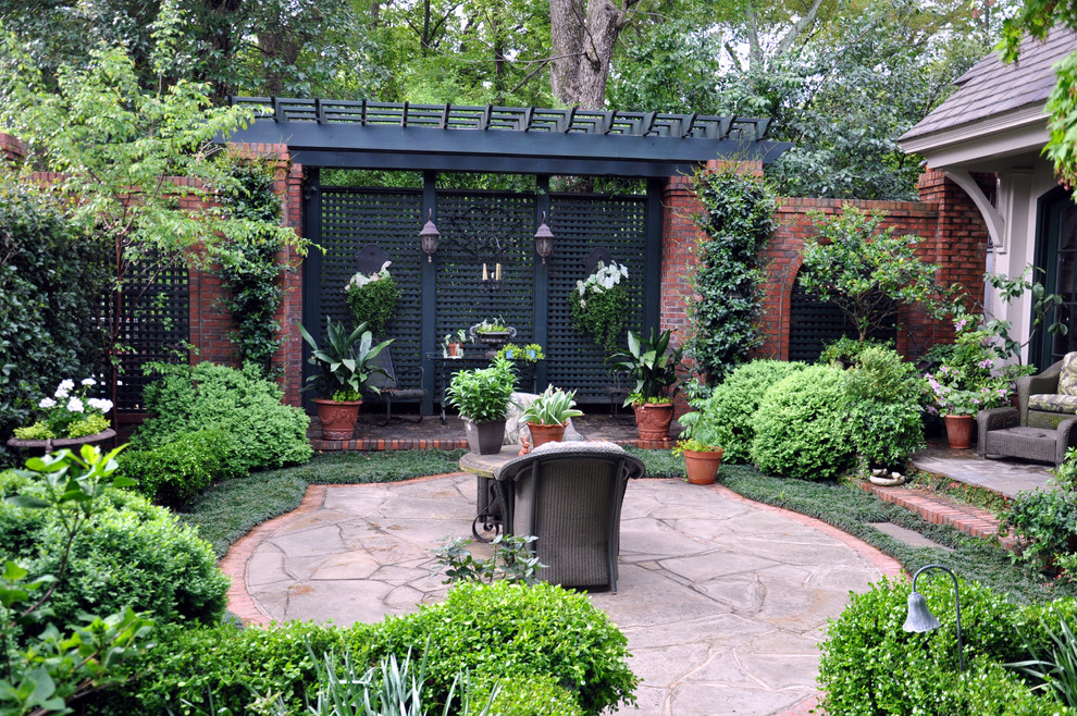 Affordable Stunning Garden Design With Concrete Patio With Seating And  Black Lattice Wooden Fence Design With Staircase With Stunning Garden  Designs