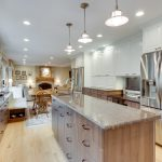 Stunning Kitchen Remodeling Northern Va With Large Wooden Cabinet System And Countertop Plus Sink And Wooden Floor Plus Decorative Pendant Lamps