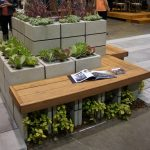 Stunning Modern And Creative Wooden Bench Design With Gorgeous Outdoor Planter Boxes Design In Tall Style