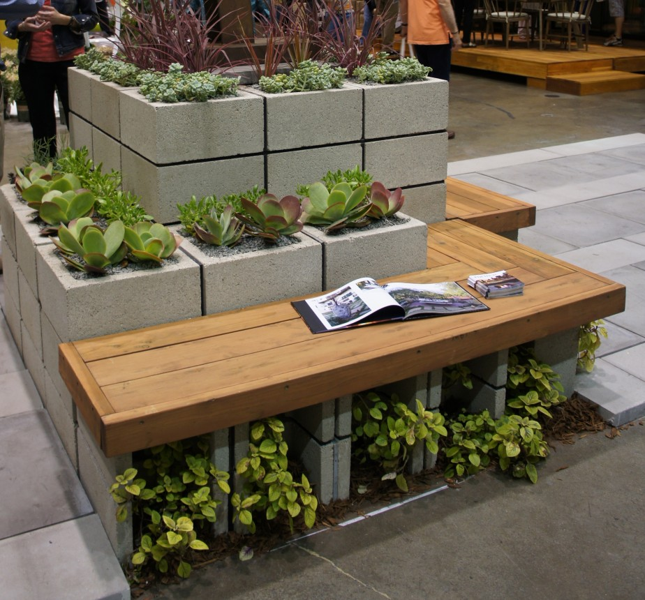Marvelous ... Wooden Bench Design With Gorgeous Outdoor Planter Boxes In Tall Style Rectangle  Concrete Concrete Planter Boxes Touch Your Outdoor Space Beautiful.