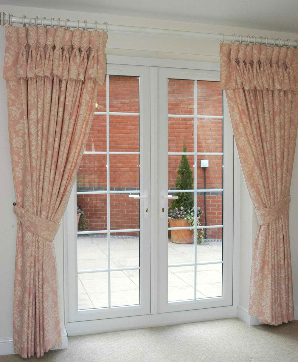 Choose the right window treatment to make your french door for Window door design