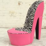 stylish and modern unique high heel bedroom comfy chair design in pink with zebra patterned backrest and pink seating and leg