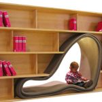 stylish book rack with unique reading corner