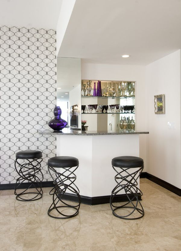 stylish corner mini bar with unique barstools some decorative item modern patterns wallpaper stylish home bar with two barstools in small room - Home Bar Designs For Small Spaces