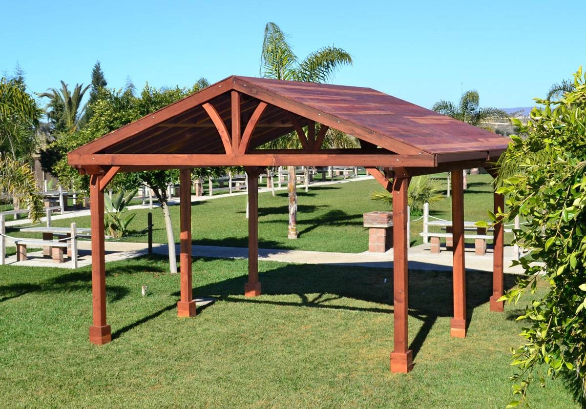 traditional outdoor pavilion plans at the backyard with green grass