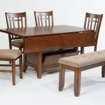 traditional wooden drop leaf dining table for small spaces in rectangle shape with wooden bench and comfy chairs for dining space ideas