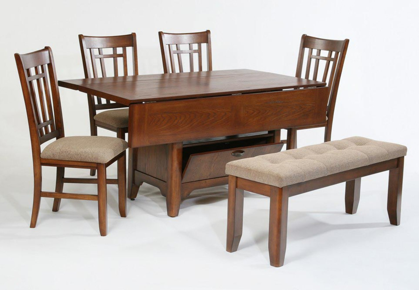 Compact dining space arrangement with drop leaf dining for Traditional dining table with bench