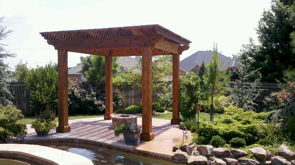 outdoor pavilion plans at the backyard with ponds and green garden ...