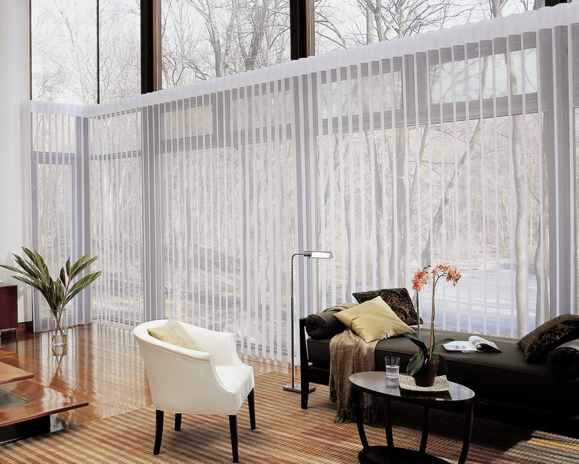 Transparant White Curtains And Window Covering For Sliding Glass Door In Living Room With Comfy Sofa