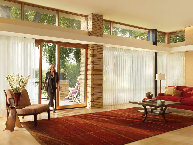 Transparant Window Curtains And Covering For Sliding Glass Door In Spacious Living Room With Red