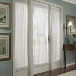 triple french door idea with white lace curtain idea on blue wall design with photo gallery with wooden hallway table
