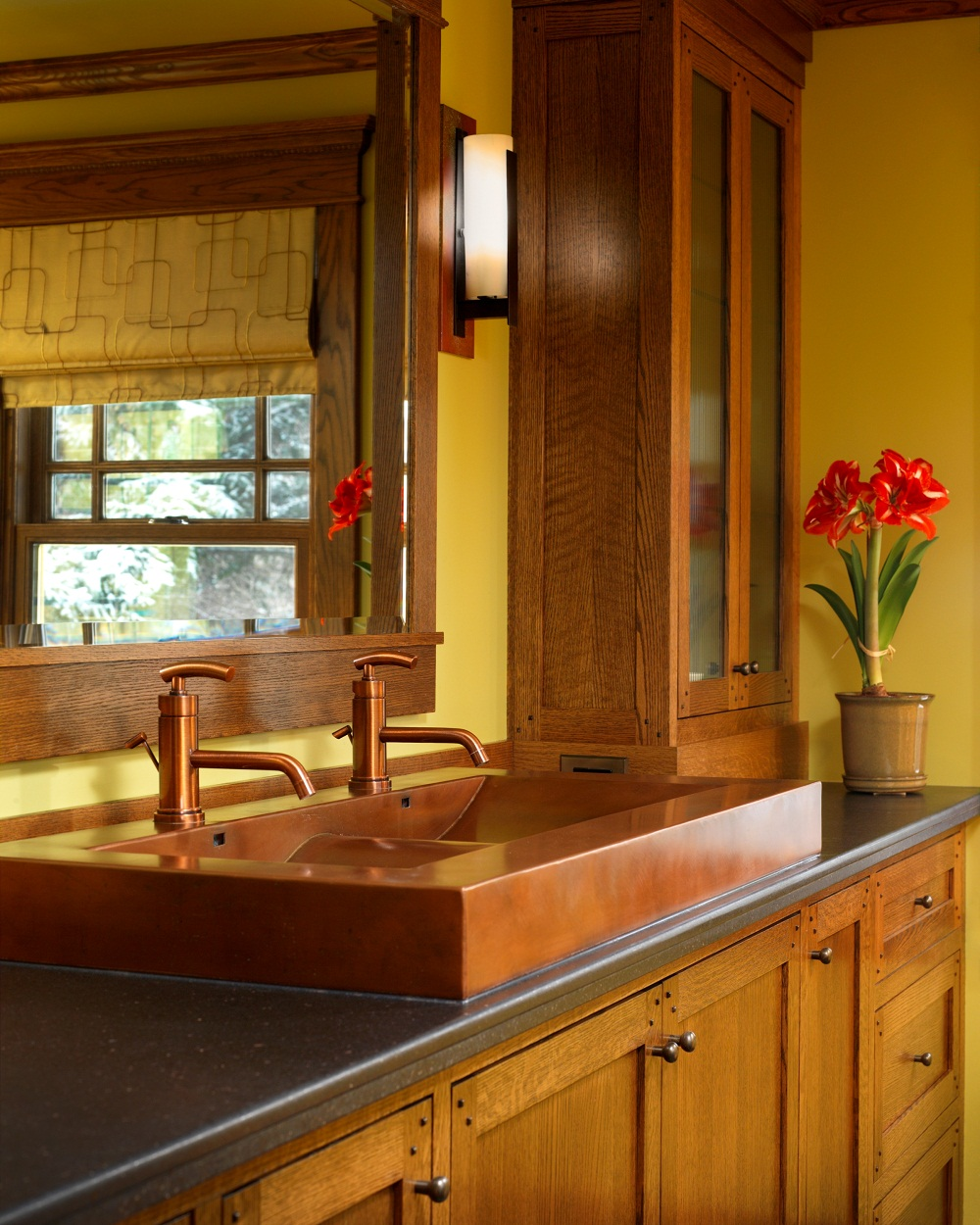 Trough Bathroom Sink With Two Faucets: Trough Sinks For Efficient Bathroom And Kitchen Ideas