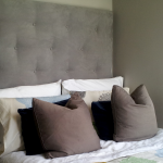 tufted headboards at ikea in grey with white bedding set and pillows plus cushions and nightstand plus unique glass lamps