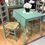 turquoise drop leaf dining table for small spaces in shabby chic style plus wooden cabinets furniture ideas plus pretty flower vase