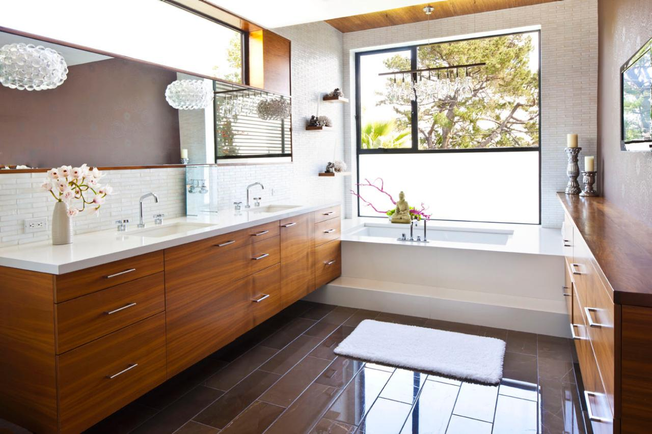 Popular Image Of MidCentury Modern Marble Bathroom Vanity With Chrome Mirror
