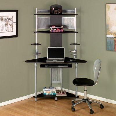 Unique And Slim Small Corner Desk From Ikea With Metal Pole Black Countertop Beneath Gray