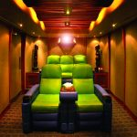 unique green chair arrangements for home theater