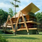 unique home construction built from wood materials with low energy use concept