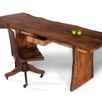 unique home office desk with solid slab wood desk tops with apples and wooden swift chairs that present rustic outlook for home furniture ideas