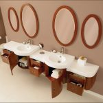 unique mid century modern bathroom vanity with white round sinks and round wall mirrors with storage (1)