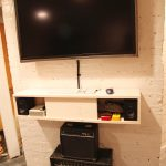 unique tv consoles on wall mounted tv console with media storage plus speaker and flat tv on white wall