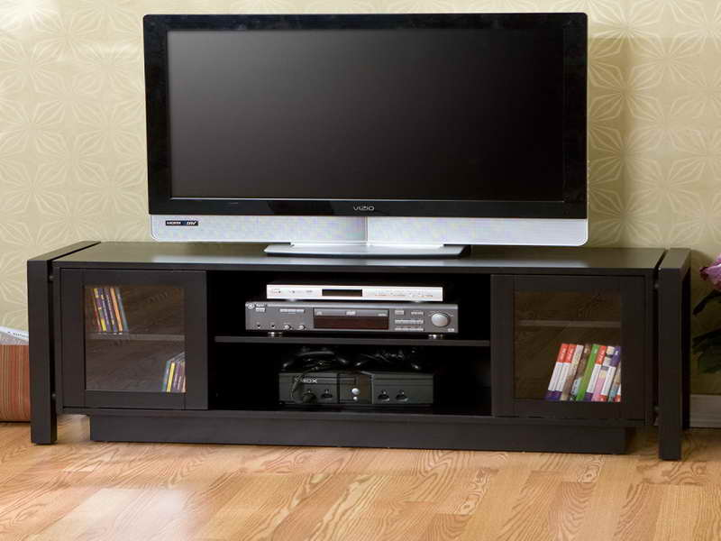 Unique Wooden Tv Consoles For Flat Tv With Glass Door Cabinets And Media  And Book Storage
