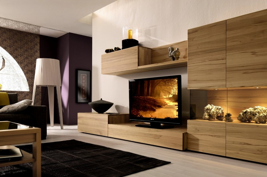 Unique Wooden Tv Consoles In Living Room With Wall Mounted And Storage And  Artistic Display Plus