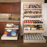 useful ikea pull out pantry for food and beverage storage with six drawers and wooden door decorated near wooden kitchen cabinets and wooden floor for kitchen