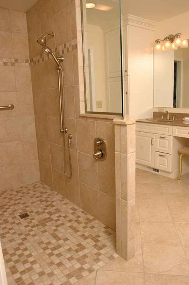 walk in shower without door with mosaic tiles floors and ceramic tiles for wall system wall