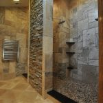 walk in showers no doors with cool wall plus pebble stone tile for flooring plus tile for bathrom and natural wall