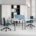 white 2 person desk ikea with grey wooden legs and blue swift chairs for office and white flooring combined with large file cupboard and windows with blinds